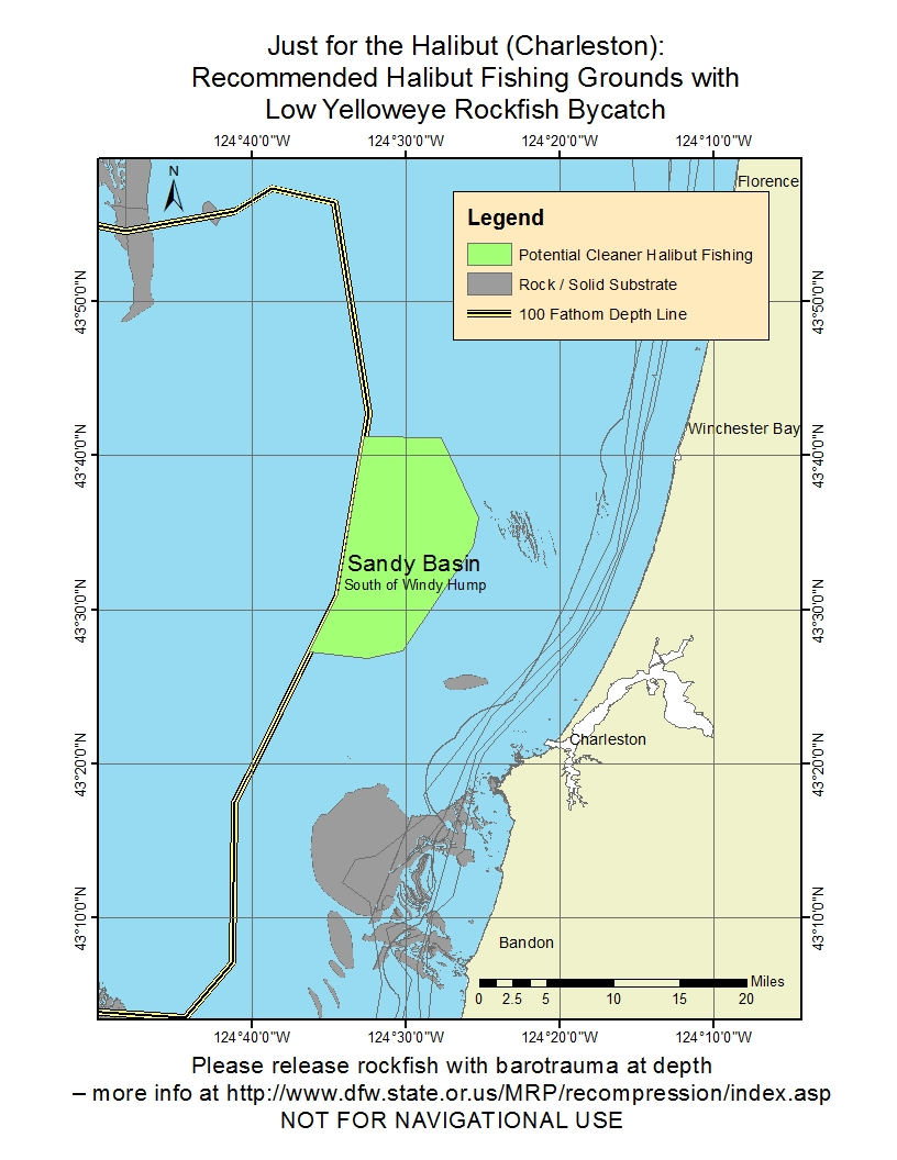 Odfw sport pacific halibut for Fishing spots in dallas