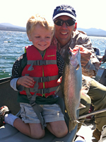 Father and son fishing at Diamond Lake