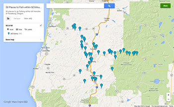 50 places to go fishing within 60 minutes of roseburg for Oregon fishing license price
