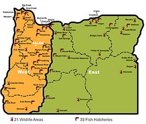 ODFW Visitors Guide - Eastern oregon map